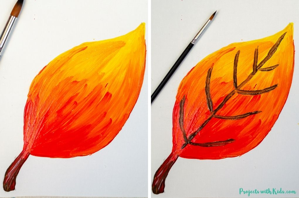 Painting a fall leaf with acrylic paints.