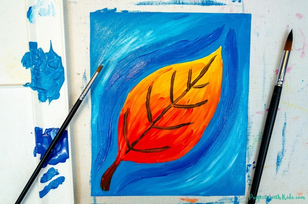Painting a fall leaf with acrylic paints, art project for kids and tweens.