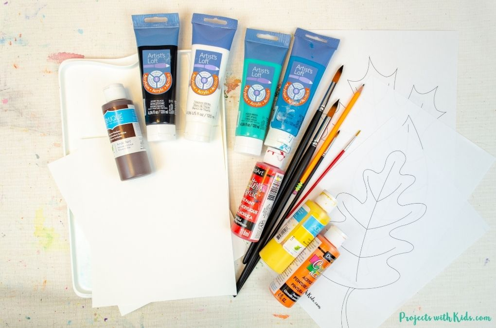 Acrylic painting supplies.