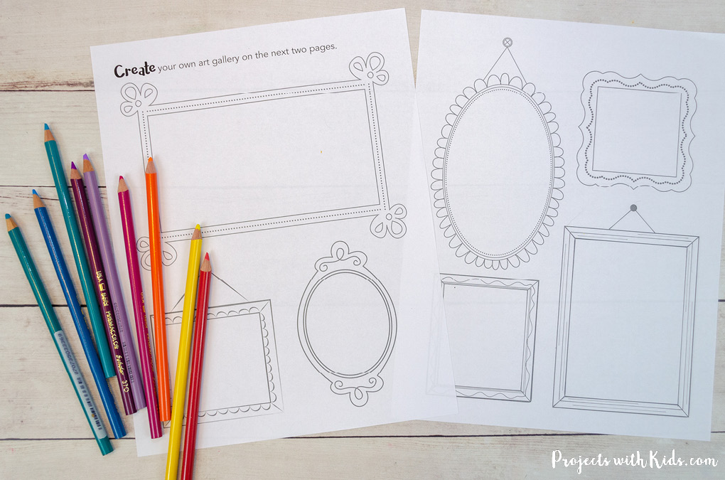 Printable drawing prompts for kids with colored pencils