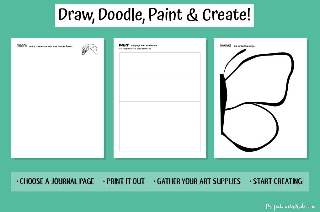 Examples of different sketchbook prompts for kids to complete.