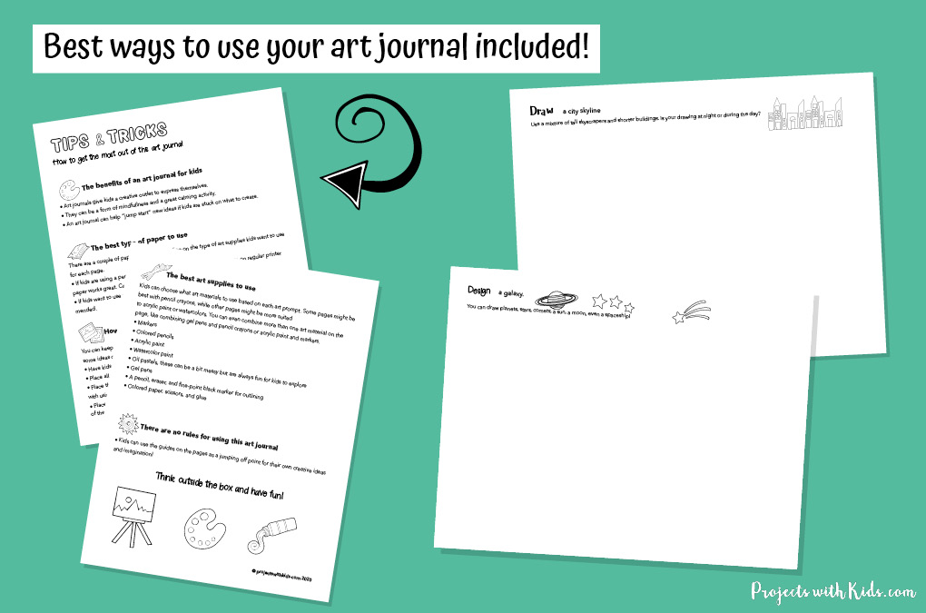 Examples of printable art journal for kids