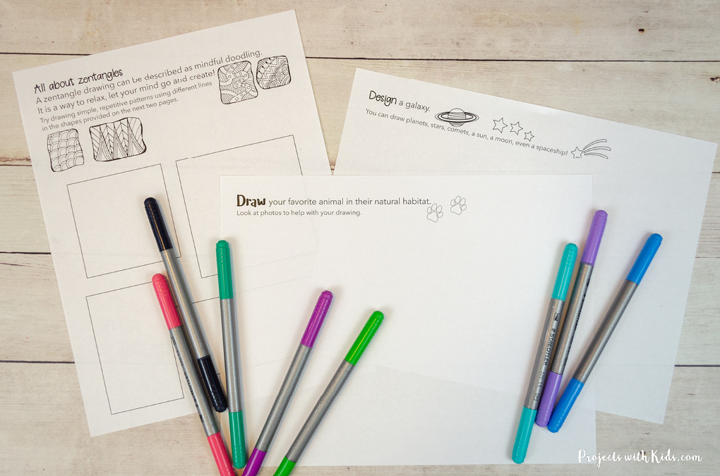 Printable examples of drawing prompts for kids to do with markers