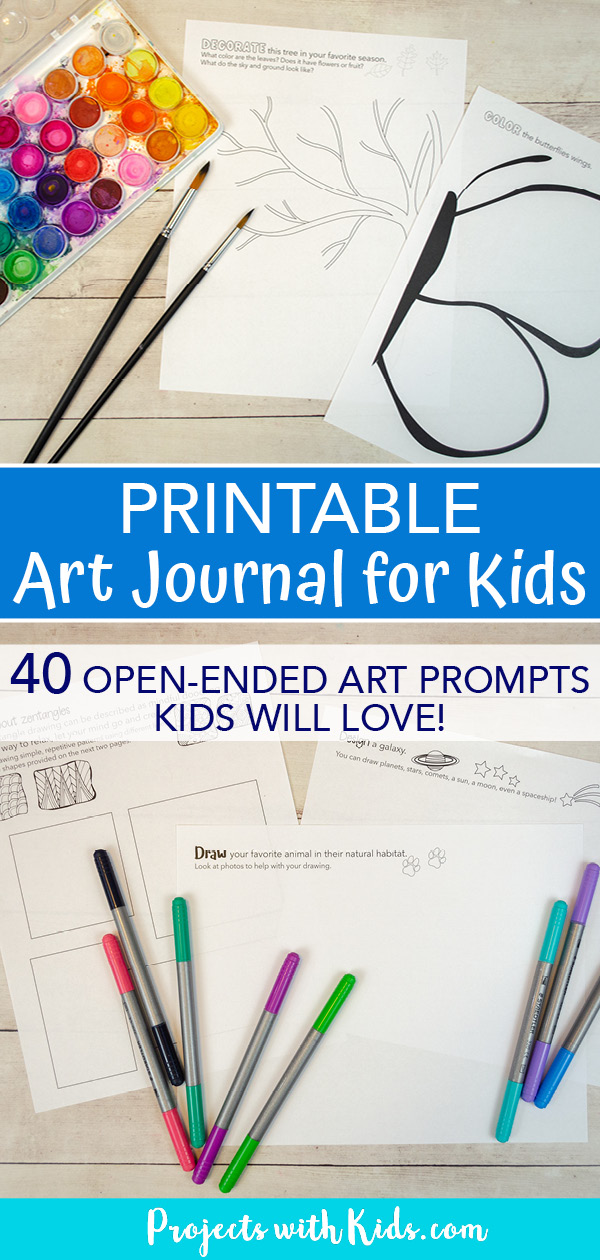 Pinterest image for a printable art journal for kids to use. Low prep art activity.