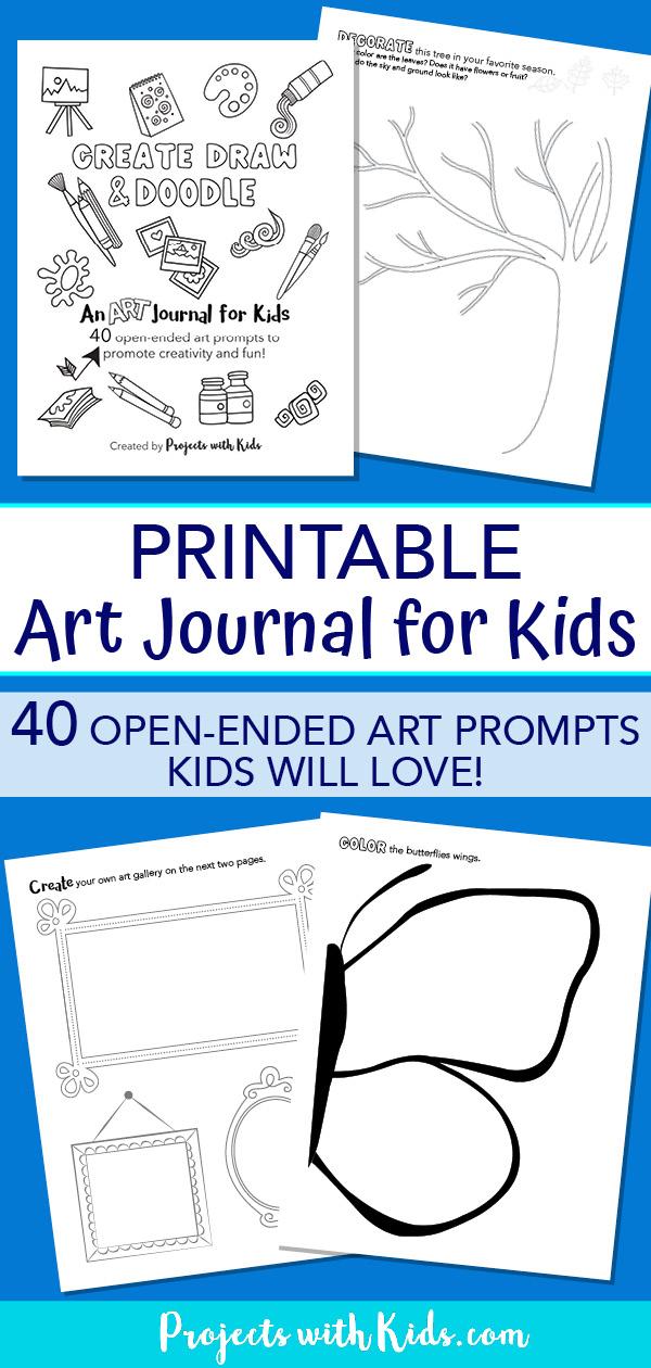 Pinterest image of printable art journal for kids