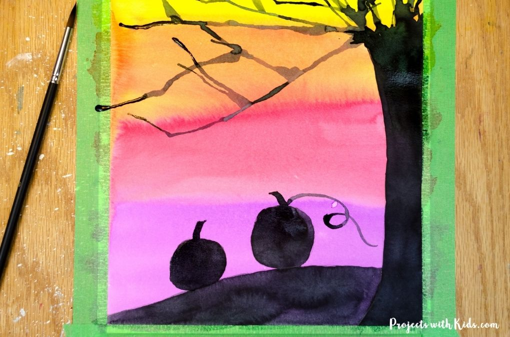 Watercolor Halloween silhouette art project for kids