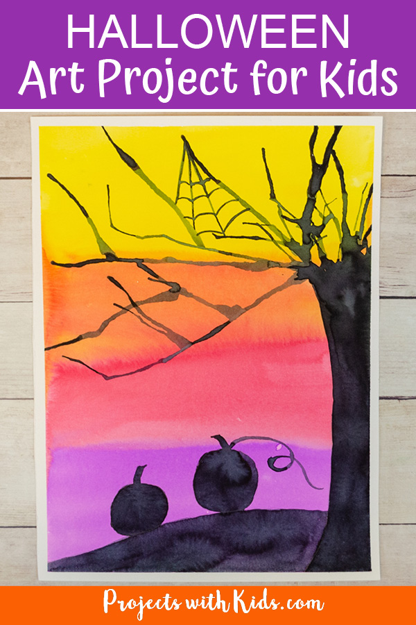 Halloween art project for kids with watercolor paint