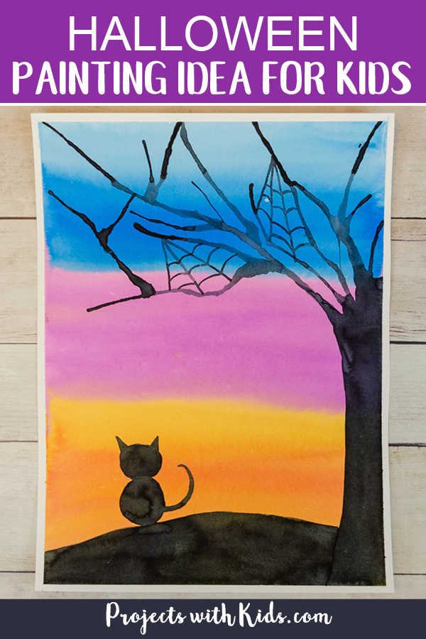 Halloween painting idea for kids using watercolors
