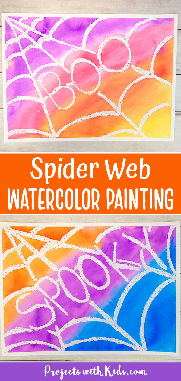 Spider web watercolor painting idea for kids