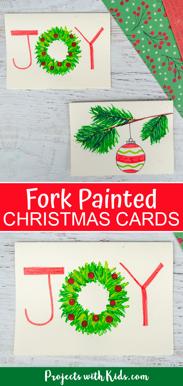 Fork painted Christmas cards for kids to make pinterest image
