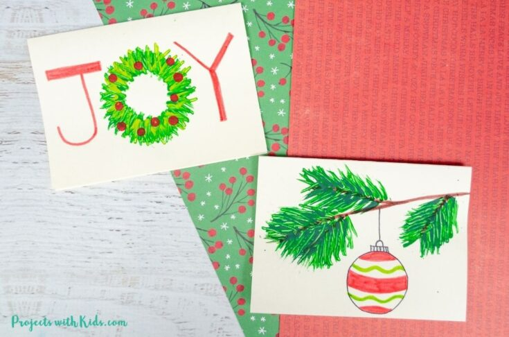 Fork painted Christmas cards for kids to make
