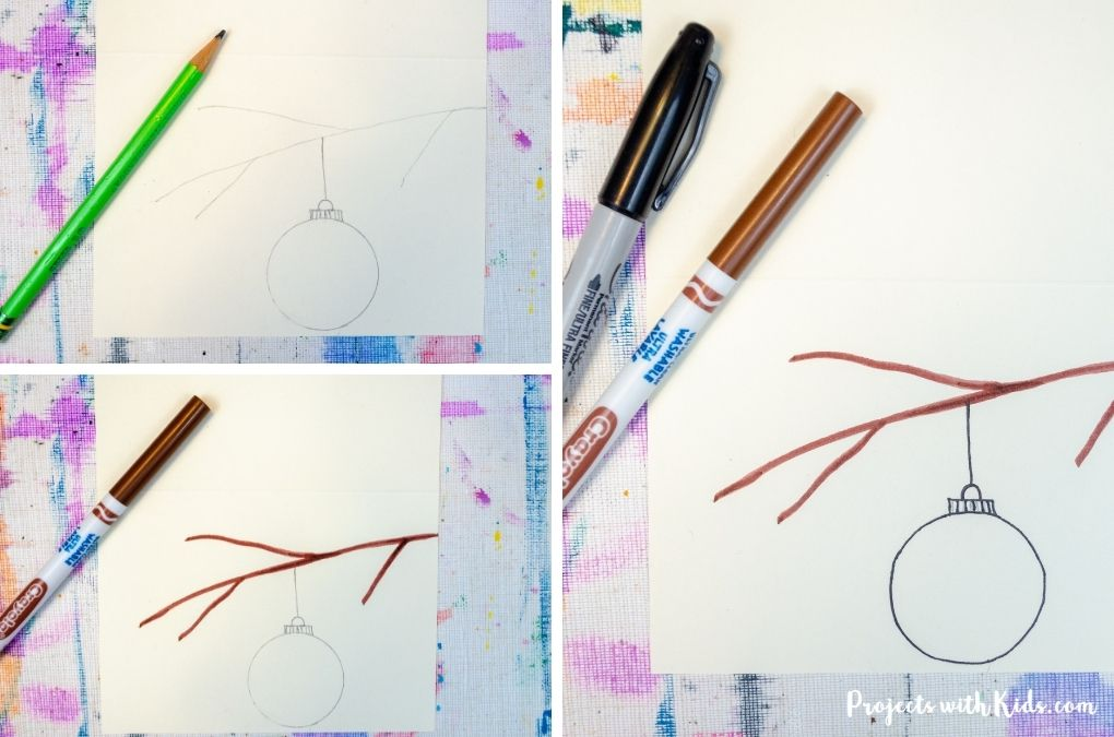 Drawing a branch and Christmas ornament and outlining in marker