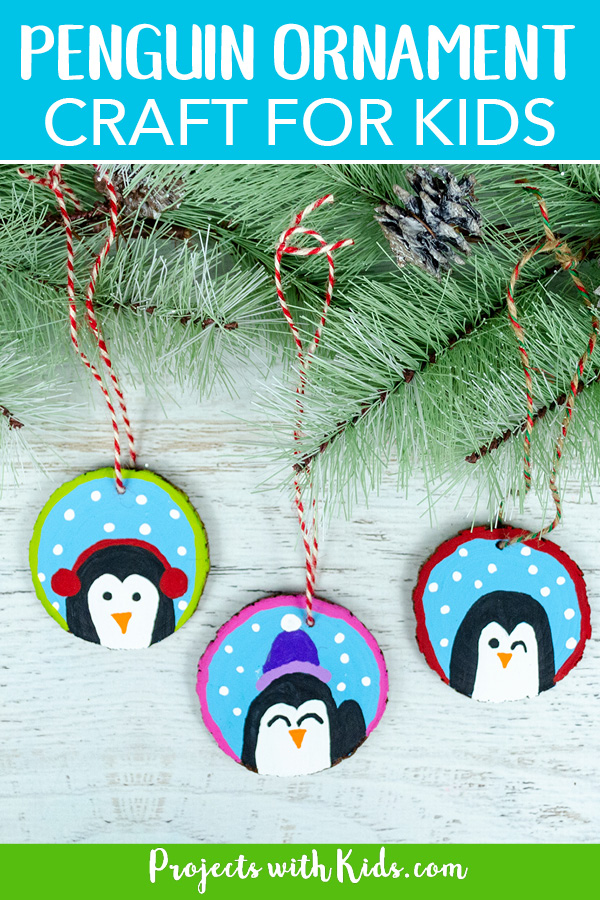 Wood slice DIY penguin ornaments for kids to make
