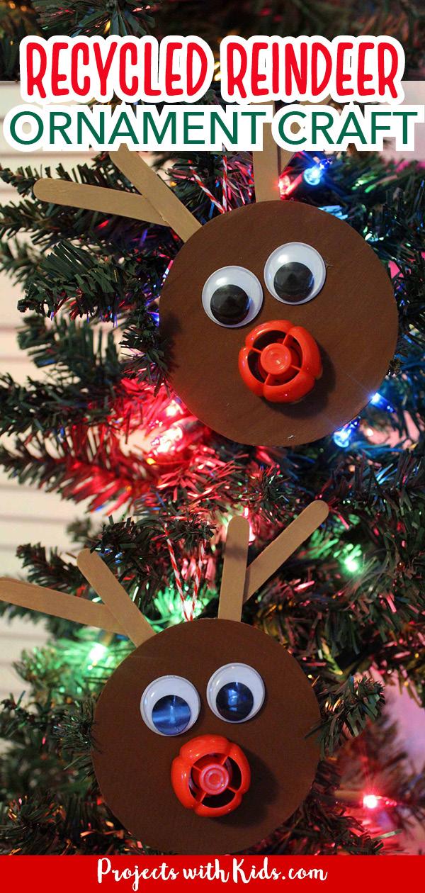Reindeer ornament craft using recylced materials.