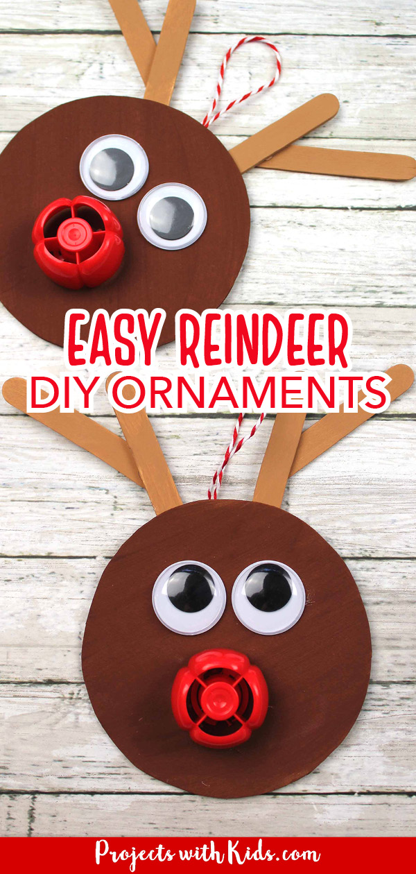 Recycled reindeer ornament craft for kids to make