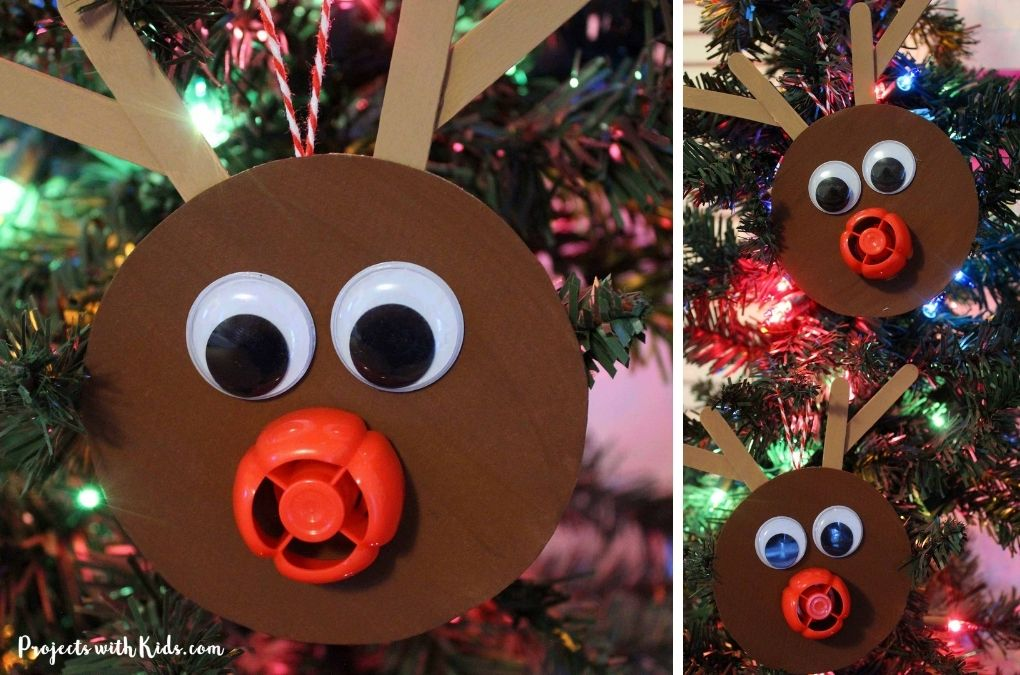 Reindeer ornament craft hanging on a Christmas tree.