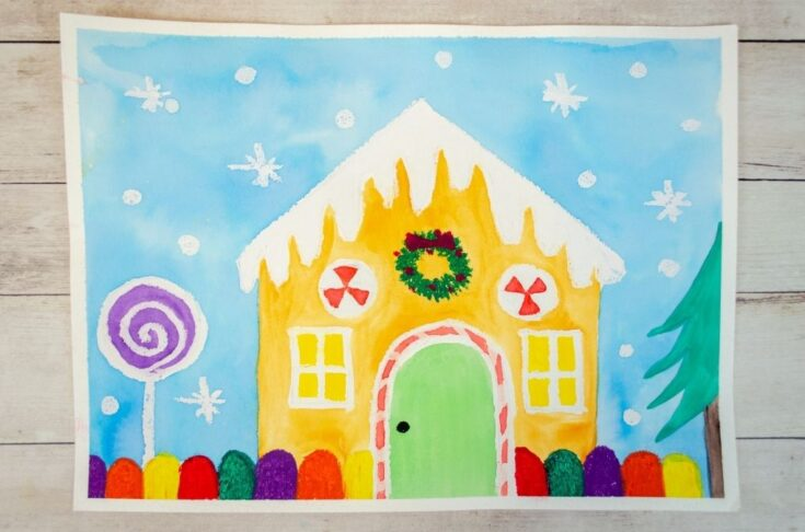 Gingerbread house painting art project for kids using watercolors and oil pastels.