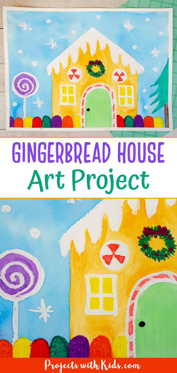 Gingerbread house art project for kids with watercolor resist