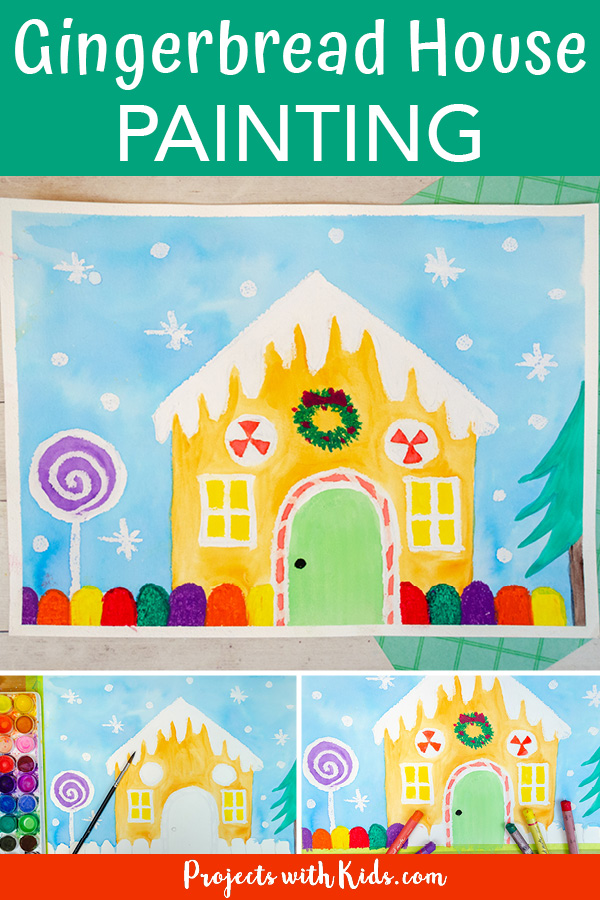 Gingerbread house painting idea for kids using watercolors and oil pastels.
