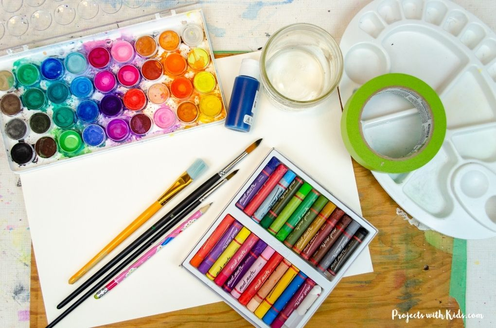 Watercolor and oil pastel art supplies