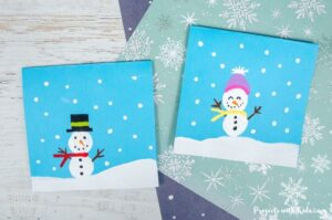 Snowman craft winter art for kids to make.
