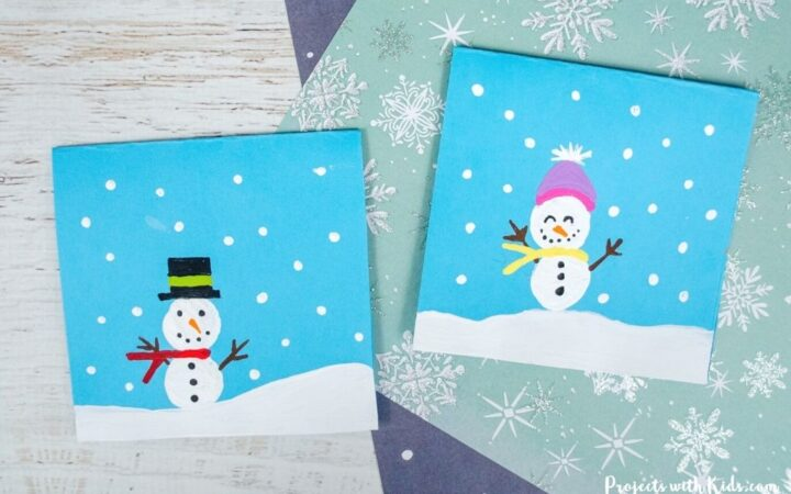 Snowman craft winter art for kids to make.