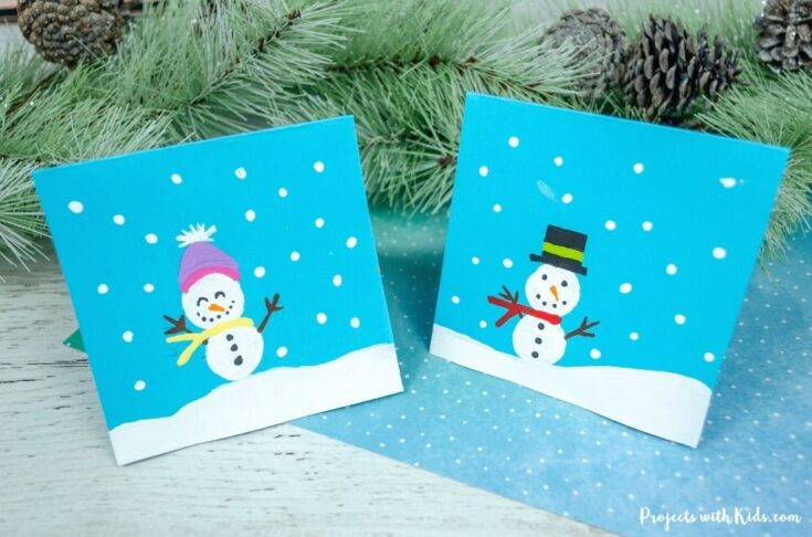 Cork printed snowman card for kids to make.