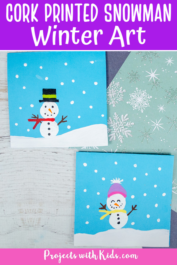 Cork printed snowman winter painting idea for kids.