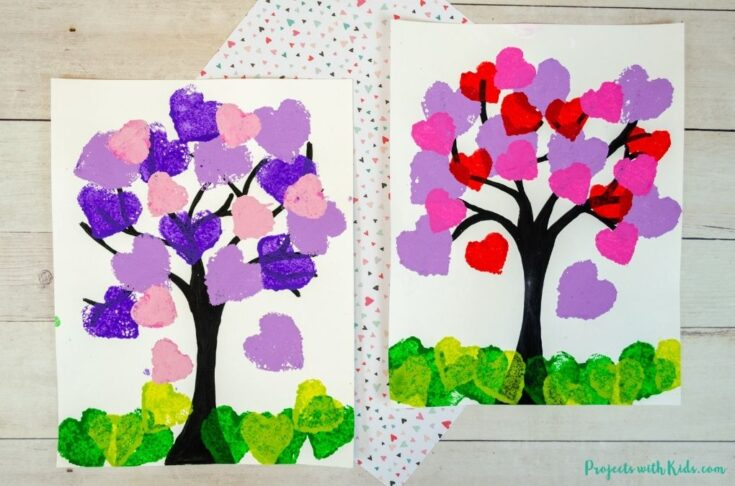 Sponge painted hearts heart tree painting for kids to make.