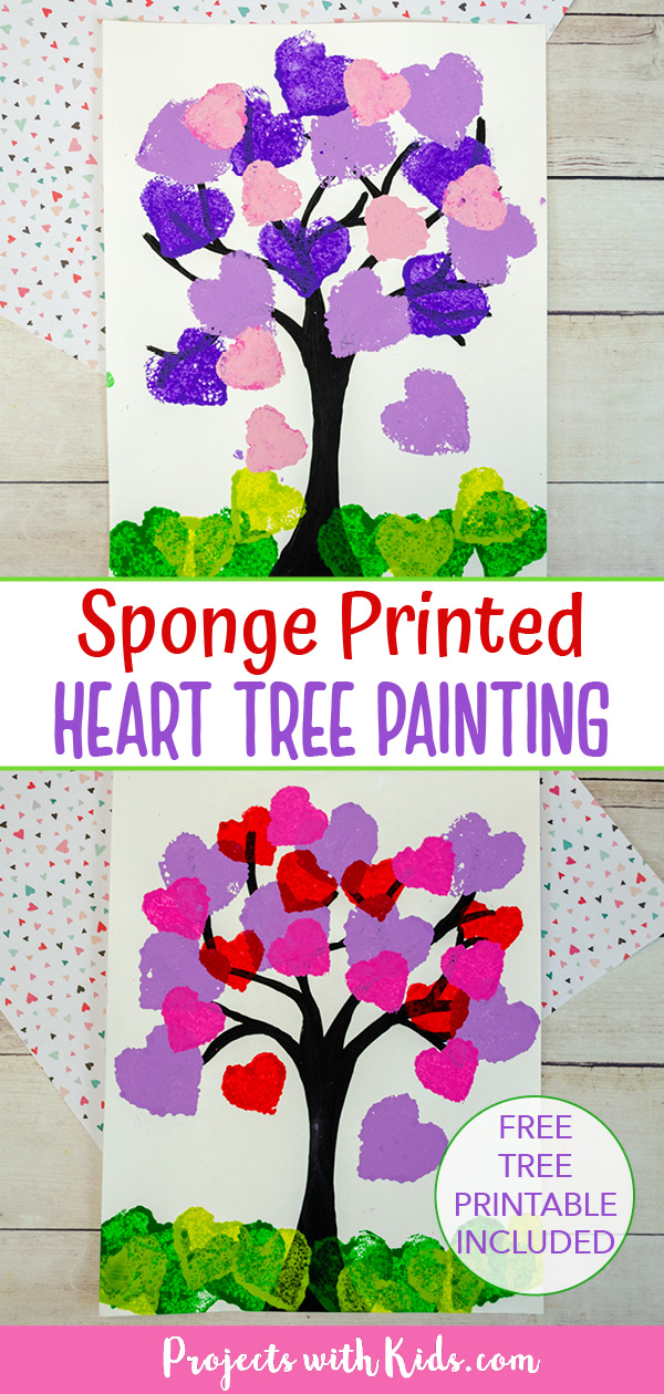 Sponge printed heart tree painting art project for kids
