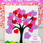 Heart sponges used to make a heart tree painting for Valentine's Day