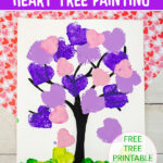 Sponge printed heart tree painting for kids to make for Valentine's Day.