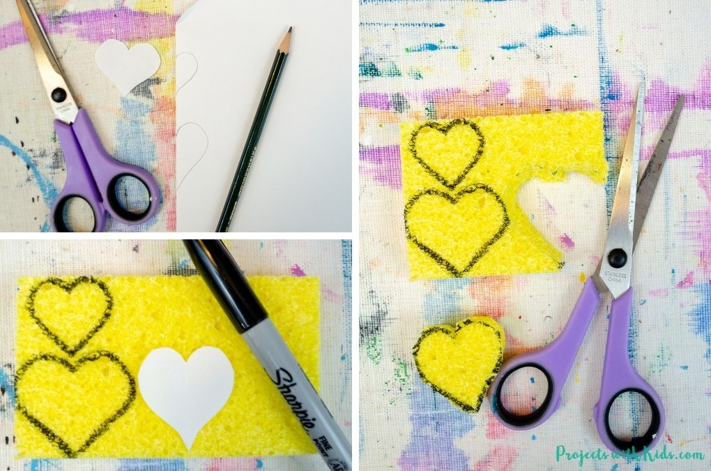 Cutting out hearts from a sponge to make a stamp.