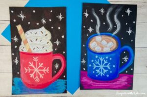 Hot chocolate pastel art project for kids to make for winter.