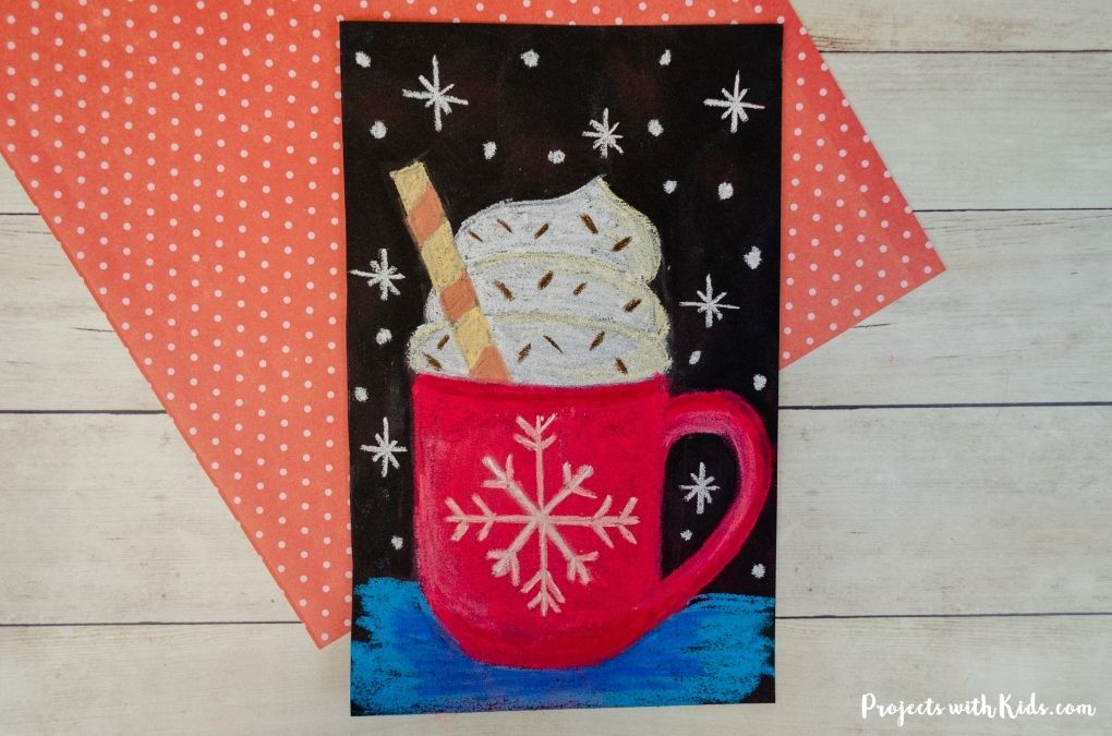 Hot chocolate art project using chalk pastels.