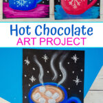 Chalk pastel art project for winter hot chocolate mugs.