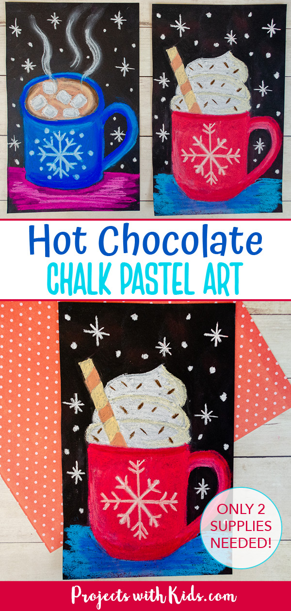 Hot chocolate chalk pastel art project for kids to make.