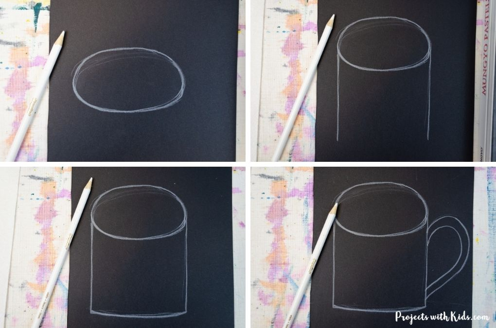 Drawing a mug on black paper.