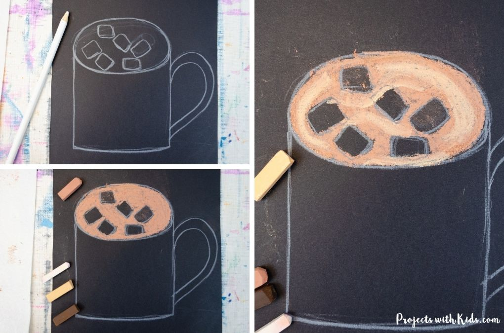 Coloring hot chocolate in a mug with chalk pastels.