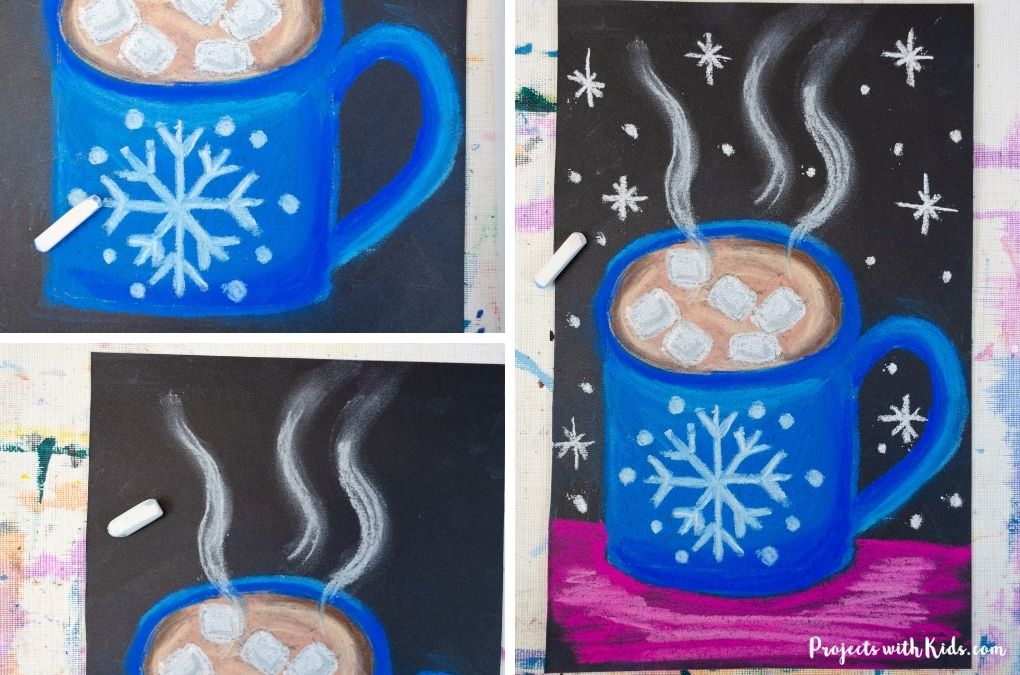 Adding in details to a hot chocolate art project using chalk pastels.
