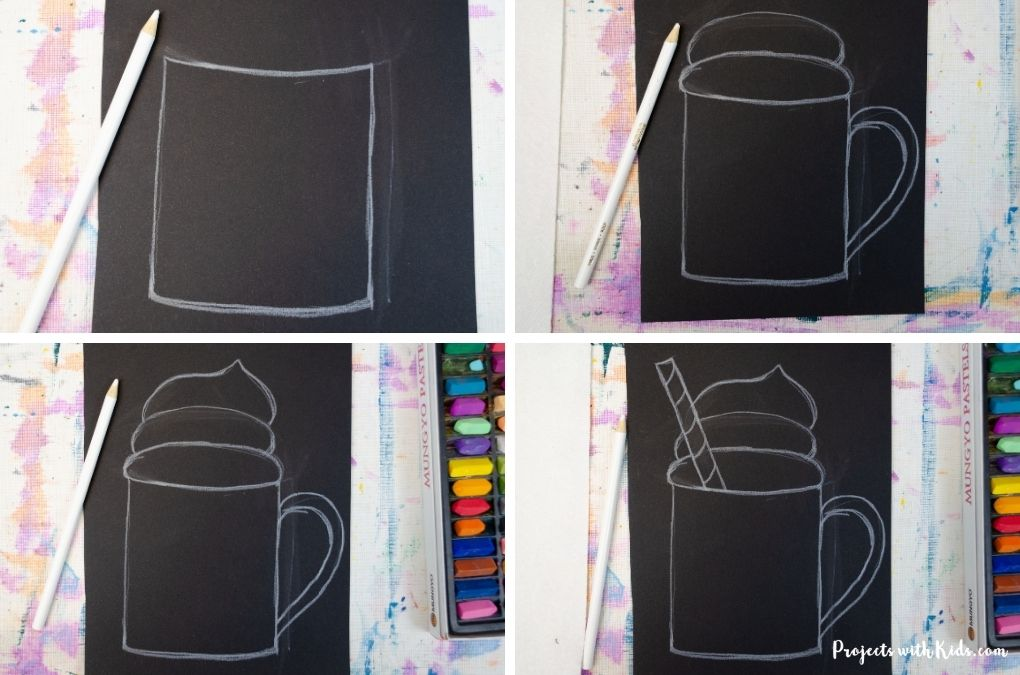 Drawing a mug of hot chocolate with whipping cream on black paper.