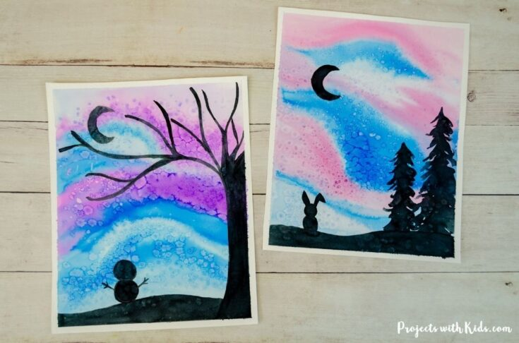 Watercolor winter silhouette art project for kids and tweens to make.