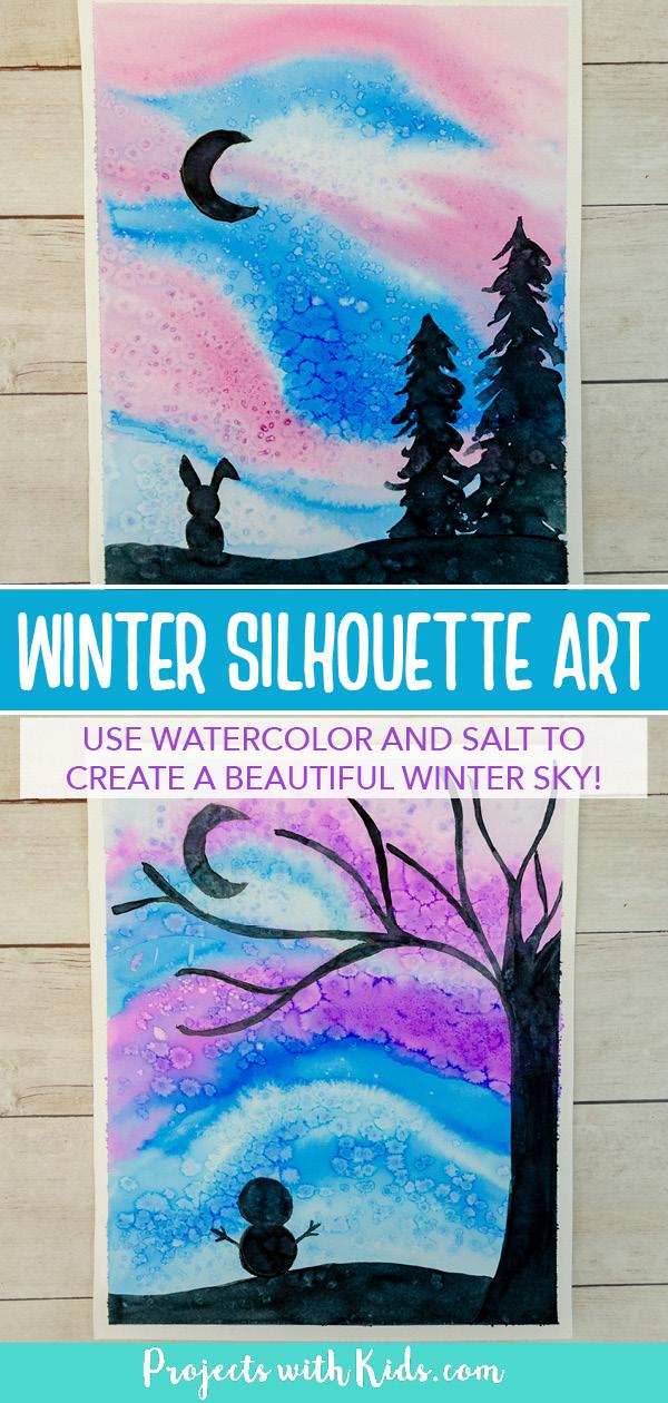 Watercolor winter silhouette art for kids.