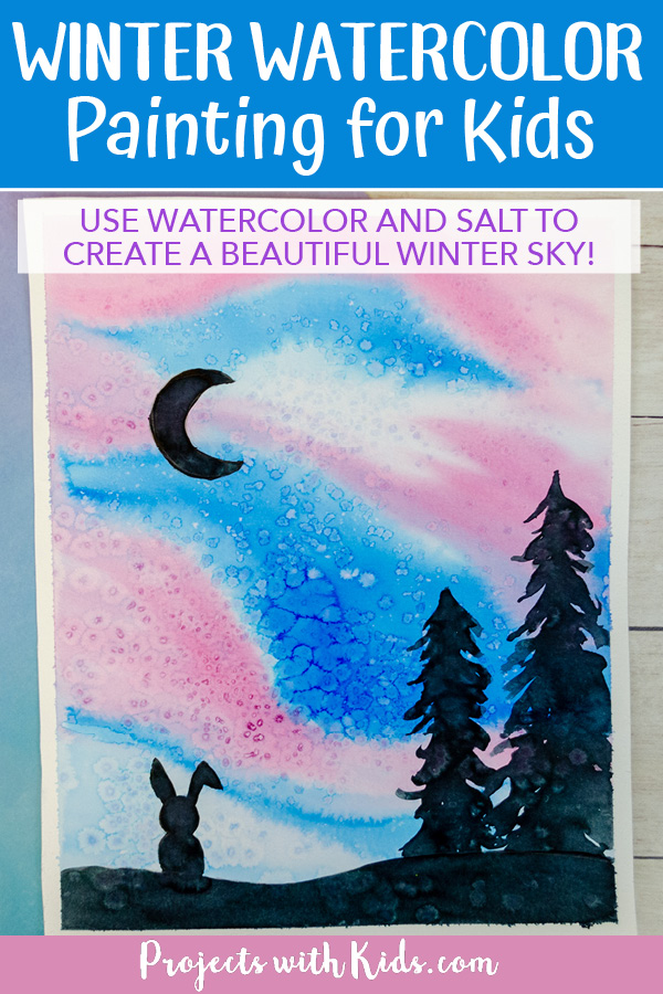 Winter silhouette painting with watercolors for kids.