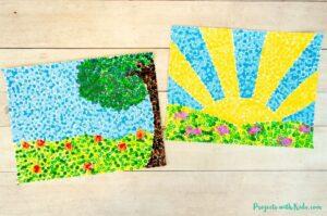 Georges Seurat inspired pointillism art for kids