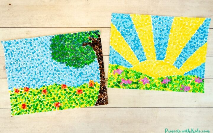 Georges Seurat inspired pointillism art for kids