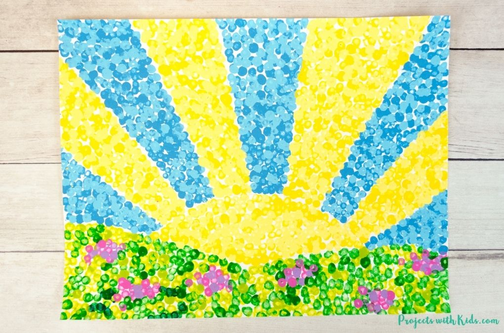 Pointillism art project for kids inspired by Georges Seurat.