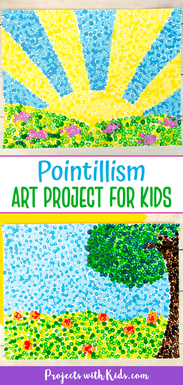 Pointillism for kids painting idea