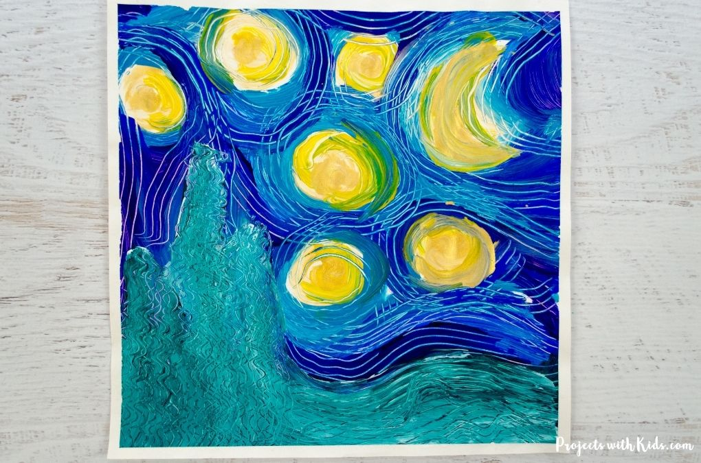 Starry night inspired painting for kids to make.
