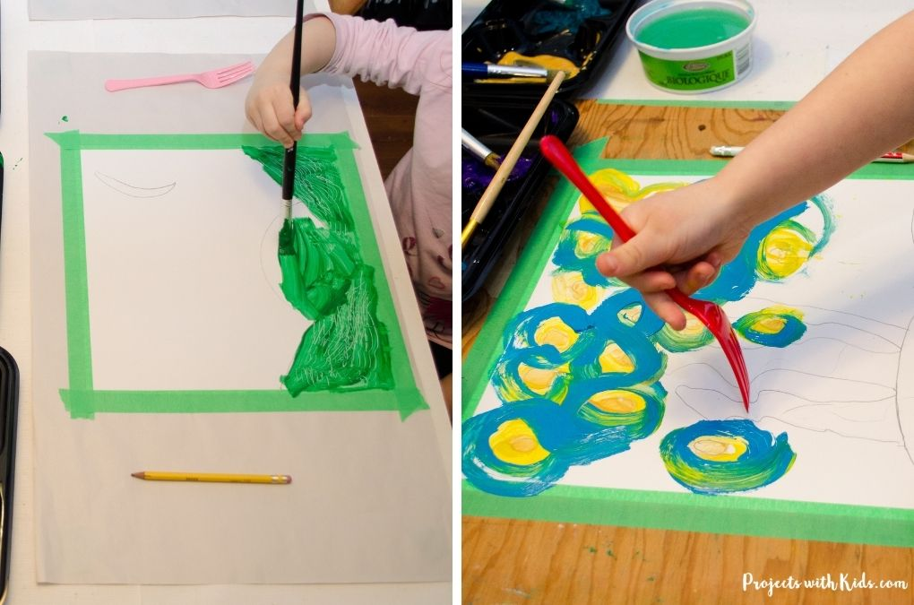 Painting on paper with acrylic paint and using forks to create texture.